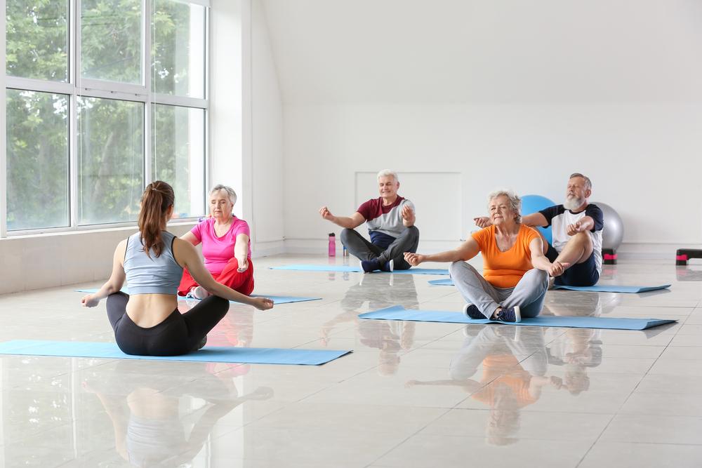 lifestyle village residents doing yoga